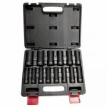 WESTWARD 4PRG5 1/2 Drive Impact Socket Set, Metric, 14pcs