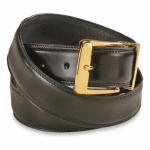 Dutch Military Surplus Leather Dress Belt New, Size: One Size, Gold