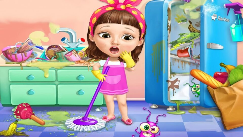 Fun Care Kids Game - Sweet Baby Girl Cleanup 5 - Messy
