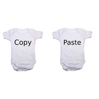 """""""Copy"""" and """"Paste"""" Twin Pack Baby Vests Bodysuits"""
