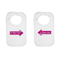 """It Was Her"" Twin pack, Twin Baby Bibs."