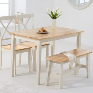 Chiltern 114cm Oak and Cream Table with Epsom Chairs and Bench