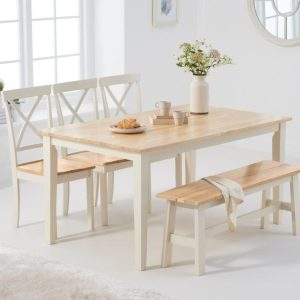 Chiltern 150cm Oak and Cream Dining Set with Benches and Epsom Chairs