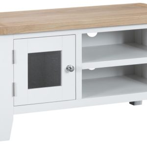 Ellen Oak and White Small TV Unit