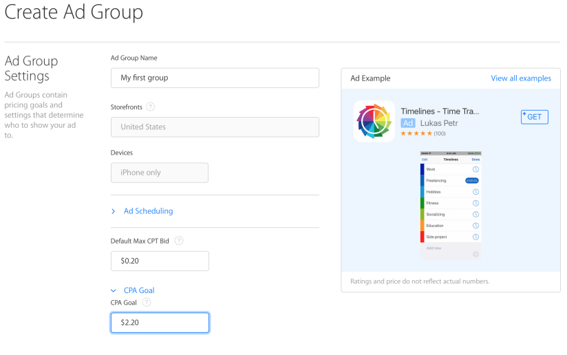 Apple Search Ads - Create Ad Group