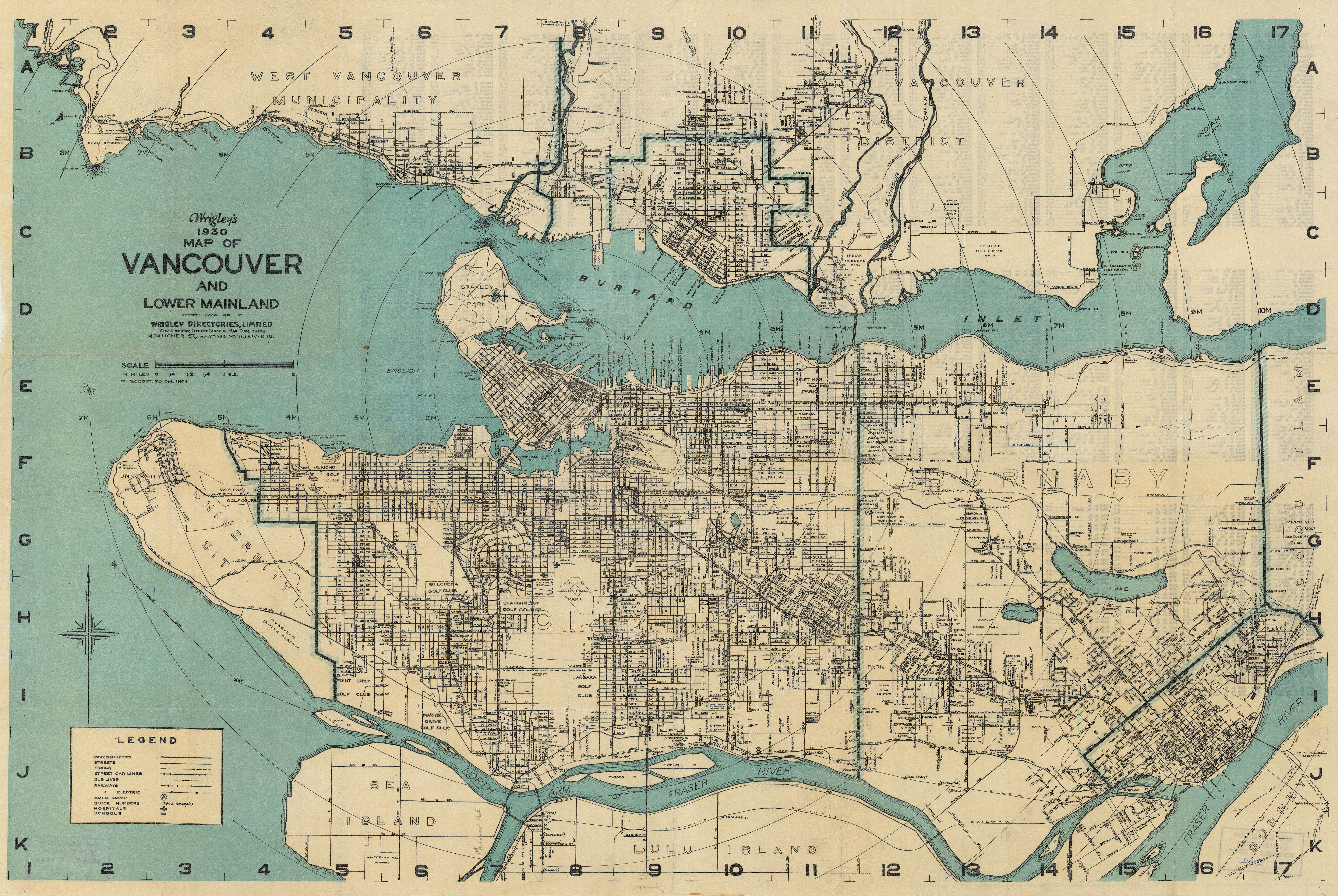 Wrigleys 1930 map of Vancouver and Lower Mainland  City