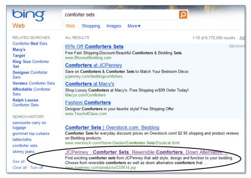 Bing Comforter Set SERP