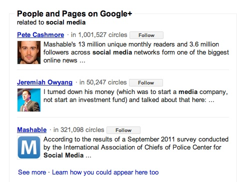 Google+ non-social search results