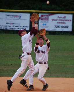 baseball fly ball collision