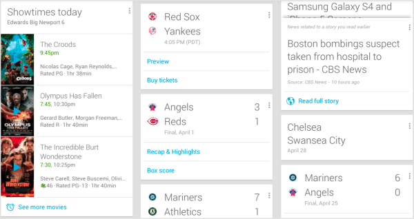 "Google Now ""cards"" showing movie listings, sports scores & breaking news headlines"