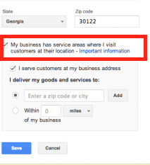 Service Area Businesses in Google+ Local