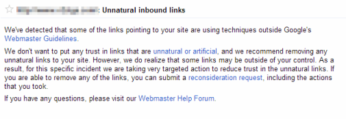 An Unnatural Link Warning from Google Webmaster Tools