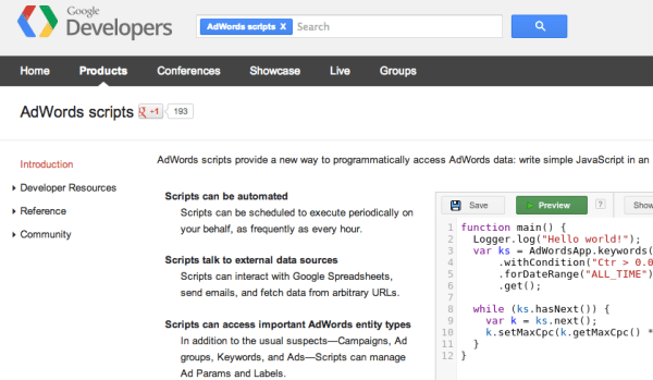 AdWords Scripts Home