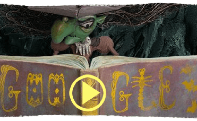 Google Logo Dressed Up As A Halloween Witch Today