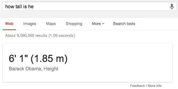 How Tall is Barack Obama Example Google Result
