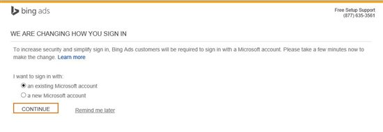 bing ads microsoft login