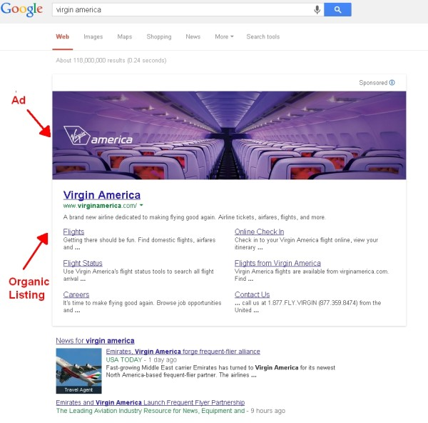 Google Banner Ad Test Virgin America