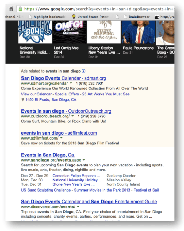 "ENTITY SERPS on a desktop - where all entities are of type ""Event"""