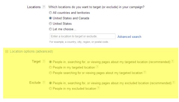 adwords location options