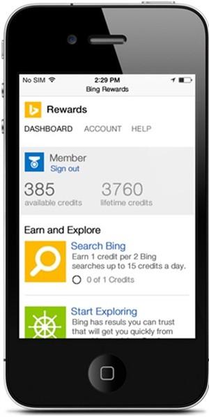 Bing Rewards on mobile