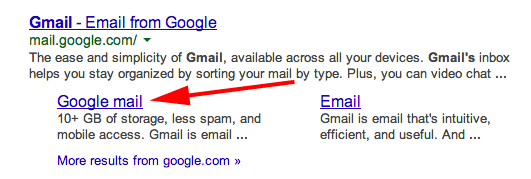google-gmail-sitelink-issue