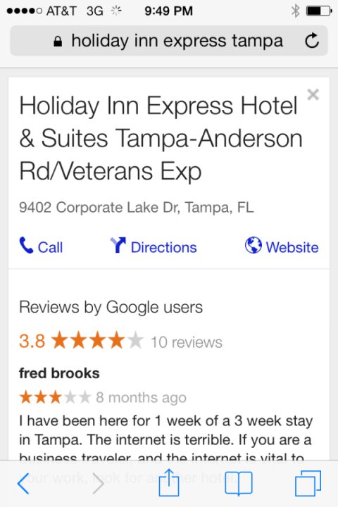 mobile serps holiday inn