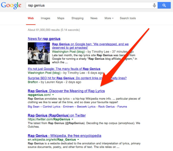 Rap Genius Back In Google After 10 Day Penalty, Ranks For Its Name But What About Lyrics?