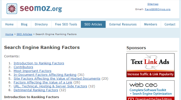 Original 2005 Search Ranking Factors study by Rand Fishkin.