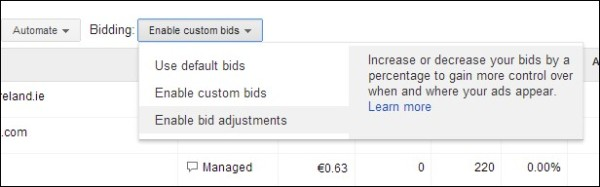 How to change bid adjustments for your targeting methods
