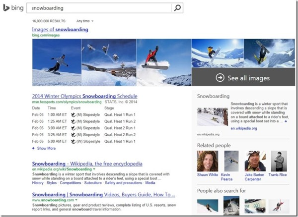 Bing Olympics search 2014