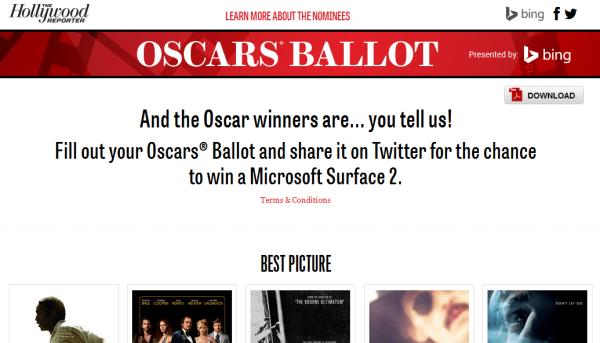 Bing Oscars ballot