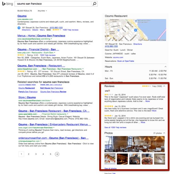 Yelp Bing integration