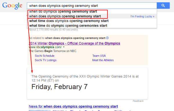 Google knowledge box when does the olympics opening ceremonies start