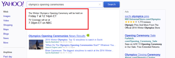 Yahoo shows Olympics Opening Ceremonies start and air time