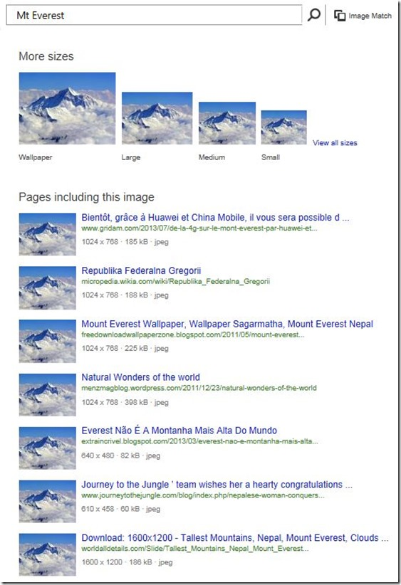 Bing Image search different image sizes