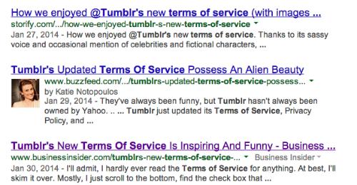 Tumblr TOS SERP