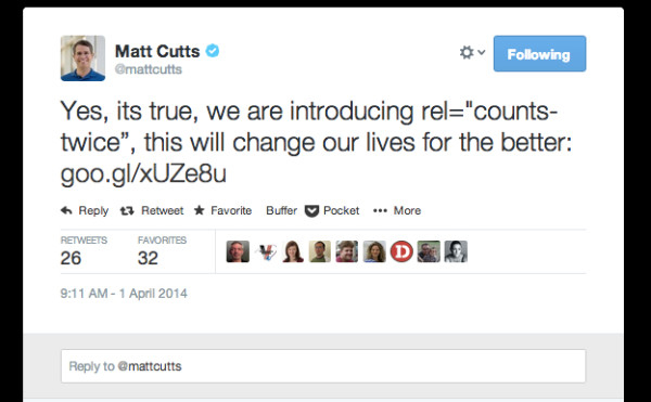 April Fools new linking cutts tweet