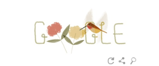 Google Earth Day logo rufous hummingbird