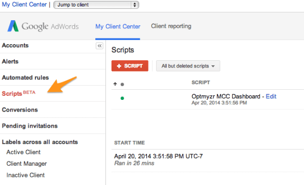 Sign up for the beta to get AdWords Scripts added to your AdWords My Client Center