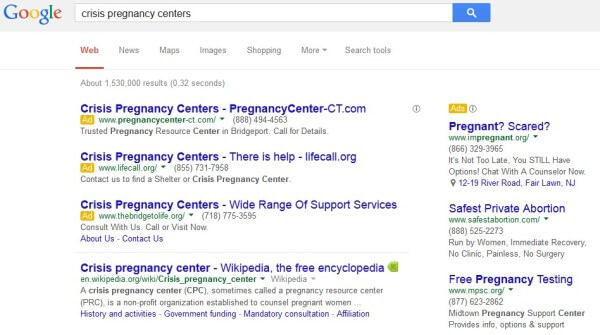 Crisis Pregnancy Center Ads on Google