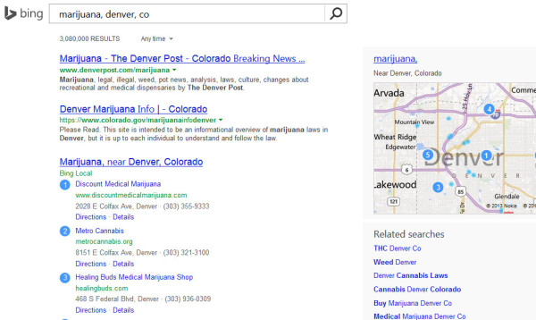 Marijuana Searches on Bing