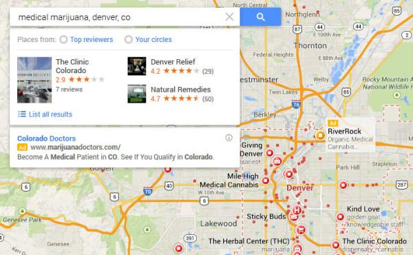 Medical Marijuana in Google Maps Search