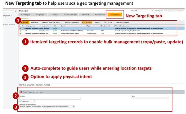 Bing Ads Editor Targeting Tab
