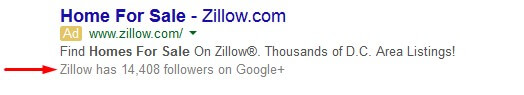 Google+ links in ads snippets