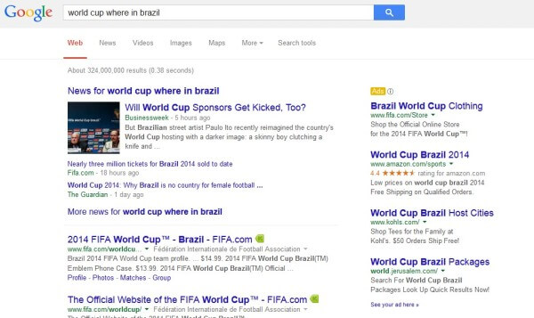 Google SERP world cup where in brazil ads