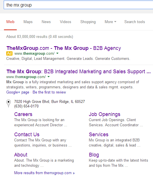 Example of a branded SERP with both paid and earned listings.