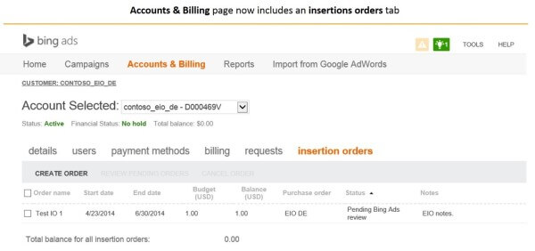 Bing Advertising Agency Insertion Orders