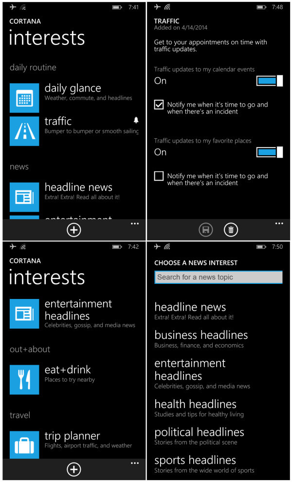 cortana interests