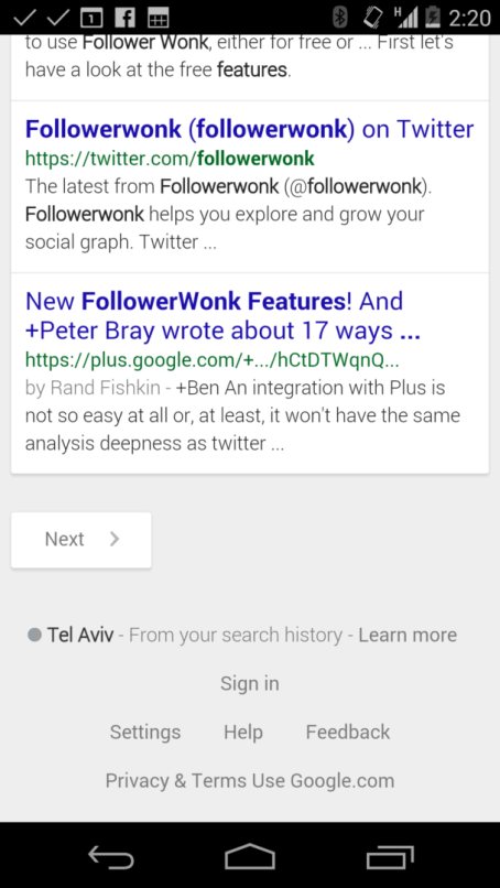 followerwonk features google plus mobile