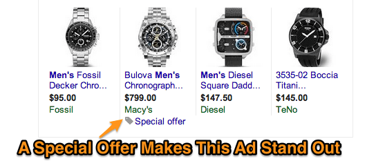 Special offers for Shopping ads
